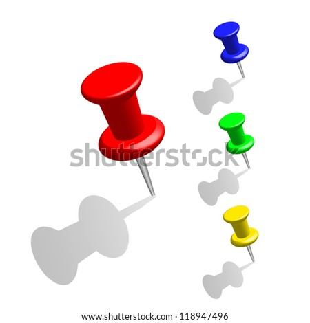 The pins of various colors on a white background with gray shadows. - stock vector