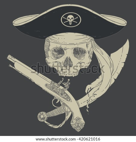 The Pirate Skull Jolly Roger. The vector image of piracy skull. Piracy flag with skull, hat and crossed pistol and saber. Vector illustration. - stock vector