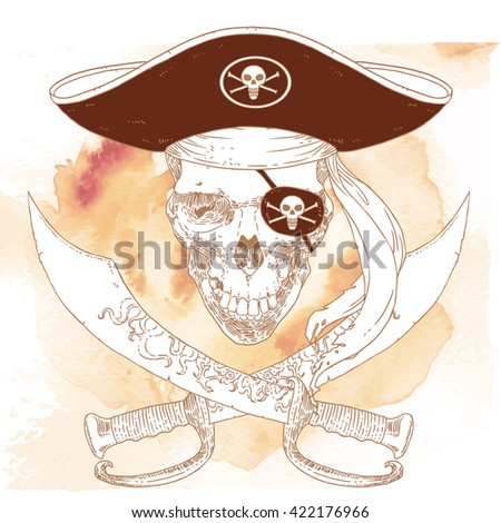 The Pirate Skull Jolly Roger. The vector image of piracy skull. Piracy flag with skull, hat, eye patch and crossed sabers. Vector illustration. - stock vector