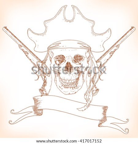 The Pirate Skull Jolly Roger. The vector image of piracy skull. Piracy flag with skull,  ribbon, hat and pistols. Vector illustration. - stock vector
