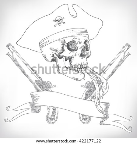 The Pirate Skull Jolly Roger. The vector image of piracy skull. Piracy flag with skull,  ribbon, hat, eye patch and pistols. Vector illustration. - stock vector
