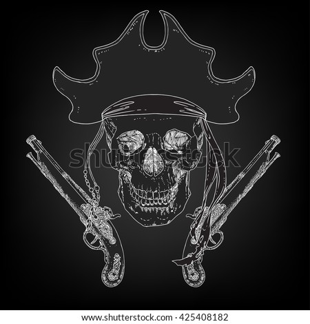 The Pirate Skull Jolly Roger. The vector image of piracy skull. Piracy flag with skull,  ribbon, hat, eye patch and crossed pistols. Vector illustration. - stock vector