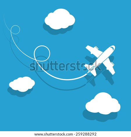 The plane is flying among the clouds. Vector image. - stock vector