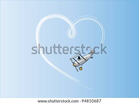 The plane that drew hearts in the sky - stock vector