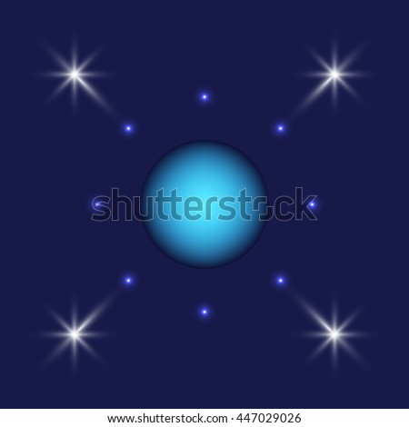 The planet Uranus and the stars. - stock vector