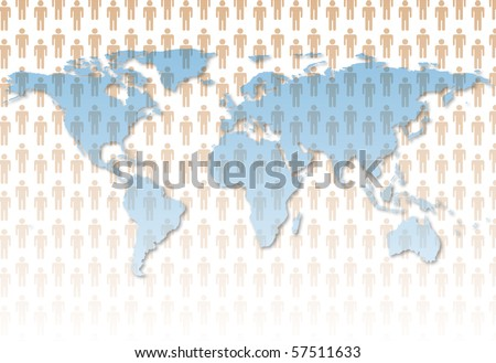 The population of Earth as symbol people on the continents of a world map