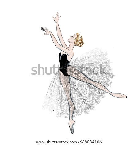 The Portrait of a Young Ballerina in a Lacy Dress. Vector Illustration of a Ballet Dancer Girl. Free Hand Draw. Realistic Freehand Drawing. Classical Dance. Costume Design Sketch. Sketched Tutu Dress.