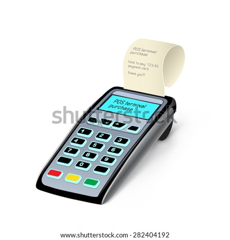 The POS terminal device on the white background - stock vector