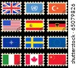 The post stamps and flags of the countries - stock vector