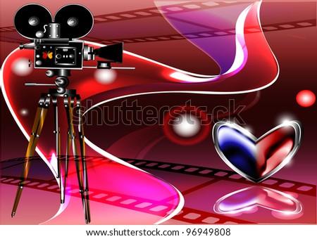 The poster for cinema. Vector illustration. EPS 10 - stock vector