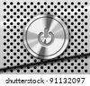 The Power Button on the perforated metal background - stock vector