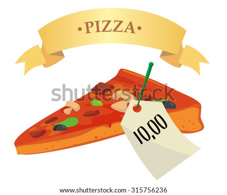 the price tag for pizza - stock vector