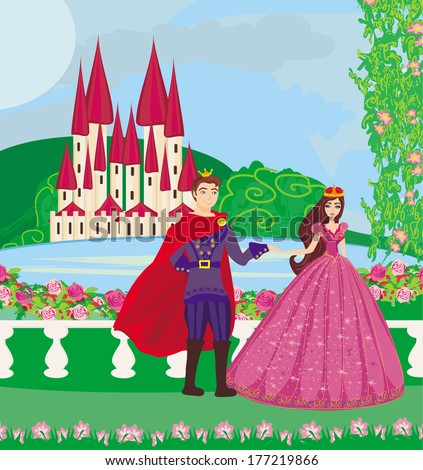the princess and the prince in a beautiful garden - stock vector