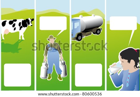 The process of milk farmer the cows - stock vector