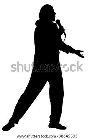 The professional musician and the singer acts at a concert. Vector