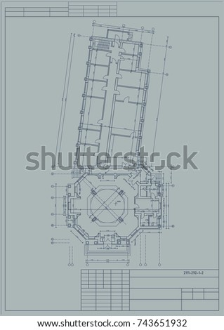 Project building old hospital blueprint vector stock vector the project of the building of the old hospital blueprint vector malvernweather Image collections