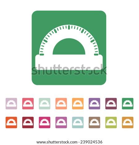 The protractor icon. Protractor symbol. Flat Vector illustration. Button Set - stock vector