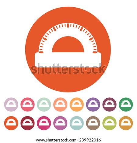 The protractor icon. Protractor symbol. Flat. Vector illustration. Button Set - stock vector