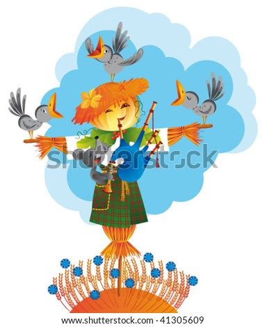 The pumpkin-headed scarecrow plays bagpipe, and the mouse and crows are singing. - stock vector
