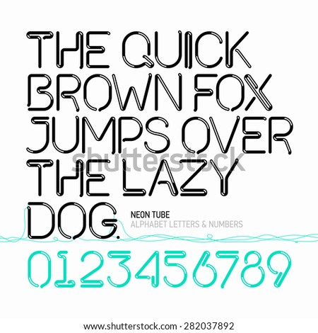 The quick brown fox jumps over the lazy dog. Neon tube alphabet letters and numbers. Vector. - stock vector