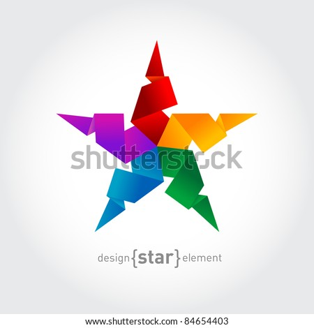 The Rainbow Origami Star on white background. Corporate logo template - stock vector