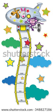 The range measured by the growth of children in the form of cable ladders leading to the plane. Vector illustration - stock vector