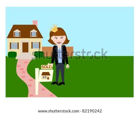 The Real Estate Queen. Cute vector featuring a real estate agent wearing a crown. - stock vector