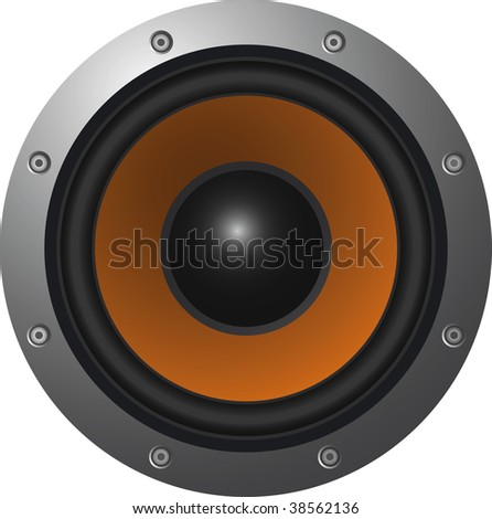 the realistic vector illustration of black loudspeaker
