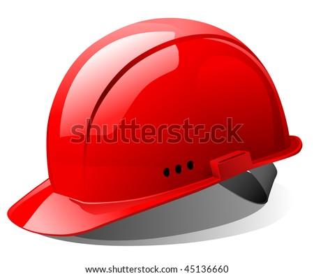 the red bright helmet - stock vector