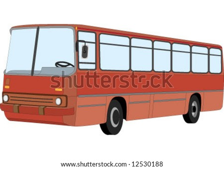The Red bus for public transportation - stock vector
