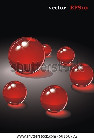 The red glass balls on a black background. Vector illustration for your design - stock vector