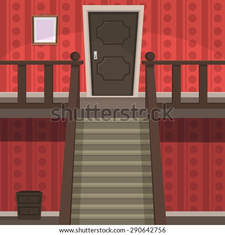 The red room with doors and stairs.