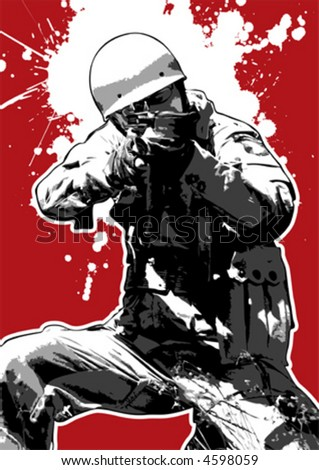 The Red Series No. 14: Grungy airbone-soldier - stock vector