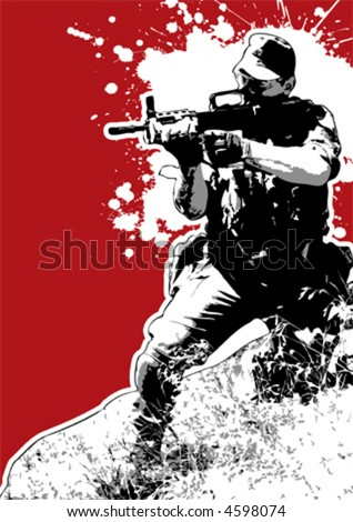 The Red Series No. 17: Grungy vector soldier aiming - stock vector