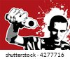 The Red Series No. 10: young psycho with gun, vector - stock vector