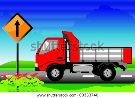 The red truck on the road with signs - stock vector