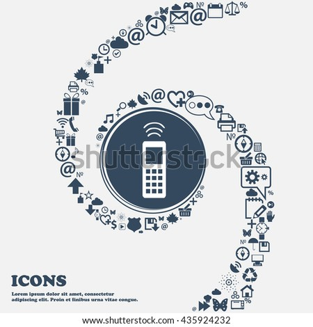 the remote control icon sign in the center. Around the many beautiful symbols twisted in a spiral. You can use each separately for your design. Vector illustration - stock vector