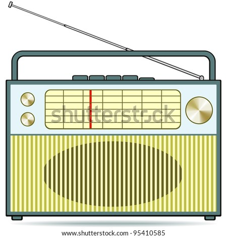 The retro radio receiver - stock vector