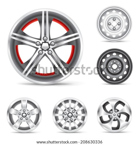 The rims set collection on the white background - stock vector