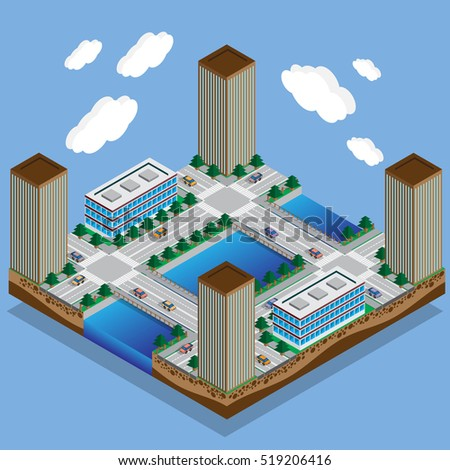 The river flows in the city. Part of the map. Isometric. Vector illustration.