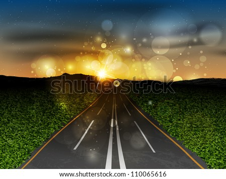 the road at sunset - stock vector