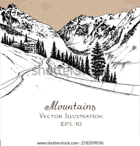 The road in the Mountains. Hand drawn vector illustration