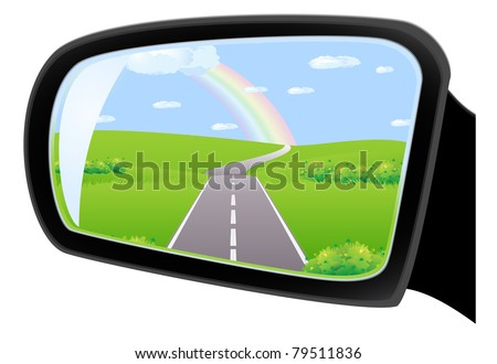 The road through the fields under the rainbow, is reflected in car side rear view mirror - stock vector