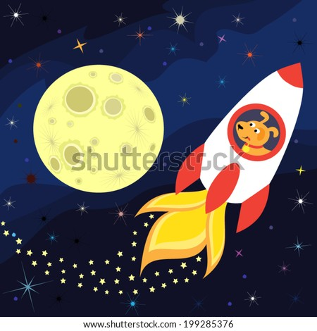 The rocket flies about the moon - stock vector