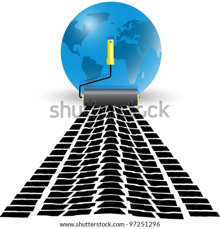 The roller draws paint from the wheel of the machine next to the globe. Vector. Rasterized version also available in portfolio. - stock vector