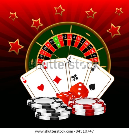 The roulette, four ases and dice against a dark background. - stock vector