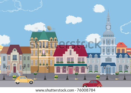 The row of old houses All buildings are very detailed and separate objects - stock vector