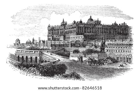 The Royal Palace of Madrid in Spain, during the 1890s, vintage engraving. Old engraved illustration of the Royal Palace of Madrid. Trousset encyclopedia (1886 - 1891). - stock vector