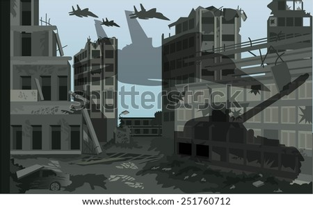 The ruined streets of the city after the bombing. - stock vector