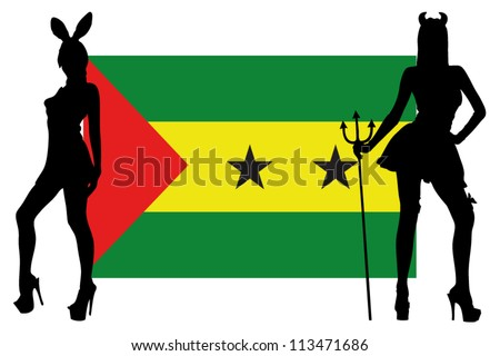 The Sao Tome E Principe flag with silhouettes of women in sexy costumes